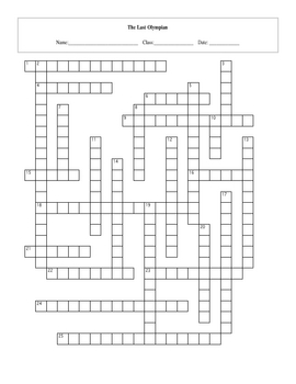 25 Question The Last Olympian Crossword with Key