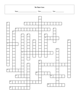 25 Question The Titan's Curse Crossword with Key