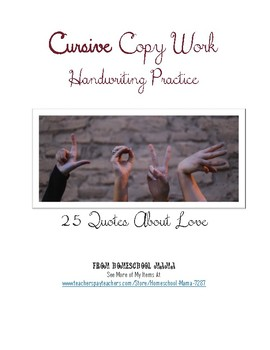 25 Quotes About Love Copy Work Handwriting Practice