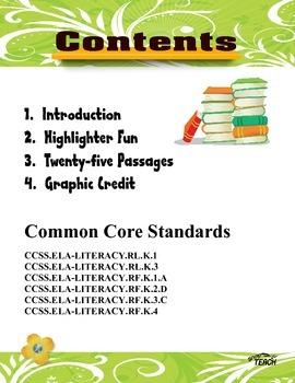 25 Reading Comprehension Passages  K-1  Volume 1  Common Core Aligned