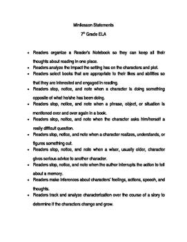 25 Reading Minilesson Statements