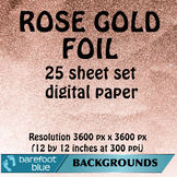 25 Rose Gold Digital Papers, High-Resolution Printable Backgrounds