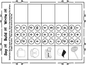 25 Short Vowel Printable Practice Activities