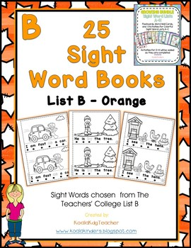 25 Sight Word Emergent Readers - List B - Orange
