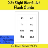 Fountas & Pinnell 25 Sight Word List Flash Cards