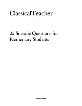25 Socratic Questions for Elementary Students