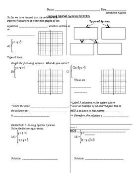 25) Solving Special Systems Guided Notes Page (to accompany ppt lesson)