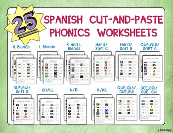 25 Spanish Cut-and-Paste Phonics Worksheets