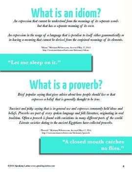 25 Spanish Sayings Activity Book for Teachers