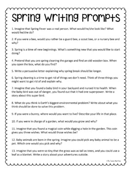 25 Spring Writing Prompts Freebie for 2nd - 6th Grade by The ...