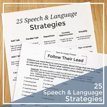Speech Therapy Parent Handouts For Early Intervention 25 Speech Strategies