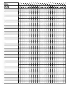 25 Student 5 Week Grade Sheet