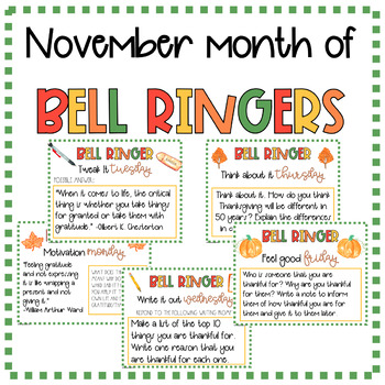 25 Thanksgiving November English, Grammar, & Writing Bell Ringers Grades 6-8