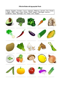 25 Vegetables - A worksheet
