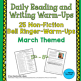 25 Warm-Ups Bell Ringers: MARCH THEMED Non-Fiction for 5th-12th Grade