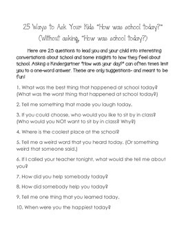 25 Ways To Ask, 'How Was Your Day Today?""