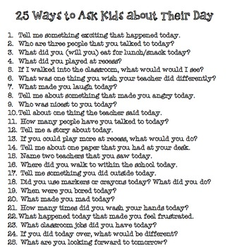 25 Ways to Ask Kids about Their Day (FREE)