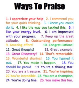 25 Ways to Praise Students