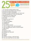 25 Ways to Praise a Student in Speech Therapy (Poster)