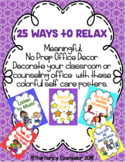 25 Ways to Relax Relaxation Calming Strategies Posters