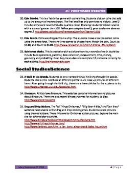 25+ Websites: First Grade