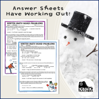 25 Winter Math Word Problems