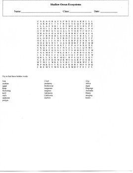 25 Word Shallow Ocean Ecosystems Word Search Puzzle with Key