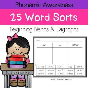 25 Word Sorts - Beginning Blends & Digraphs