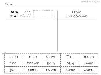 25 Word Sorts - Ending Sound Sorts & Ending Digraphs