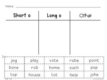 25 Word Sorts - Short and Long Vowel Sounds