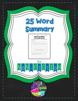 Reading Apprenticeship Style Activity: Summarize in 25 Words!