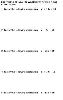 25 Worksheet Pack - Factoring Trinomials