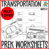Transportation PreK and Special learners worksheets.