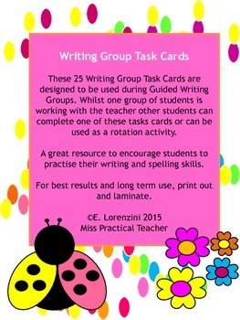 25 Writing Group Task Cards