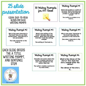 25 Writing Prompts for ANY novel Presentation and Task Cards