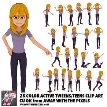 25 Youth Teen Actions Clip Art, Commercial Use OK, Teenage Secondary Clipart