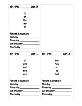 25 and 50 High Frequency Word Homework Lists