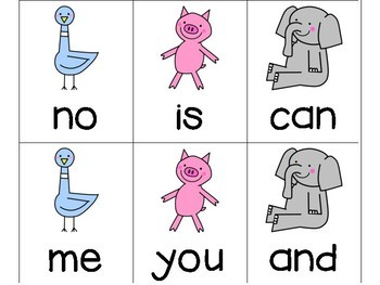 25 and 50 High Frequency Words - Fountas and Pinnell - Mo Willems Version