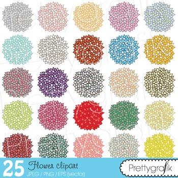 25 flower clipart commercial use, vector graphics, digital clip art - CL499