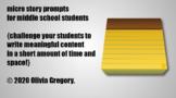 25 middle school micro story prompts (narrative & descript