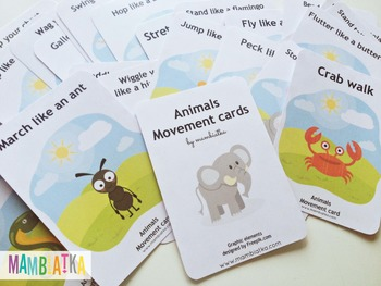 25 movement cards with animals
