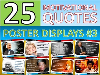 25 x Motivational Famous Quotes #3 Posters for Classroom Display or Handouts