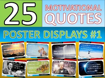 25 x Motivational Famous Quotes Posters for Classroom Display or Handouts