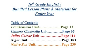 10th Grade English Annual Lesson Plans Bundle (Entire Year - 42 Weeks)