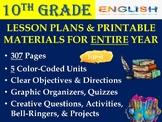 10th Grade English ELA Lesson Plan Bundle (Entire Year - 4