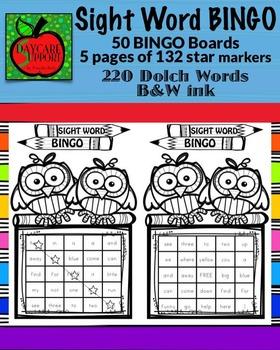 220 Dolch Sight Word BINGO B&W ink (Daycare Support by Pri