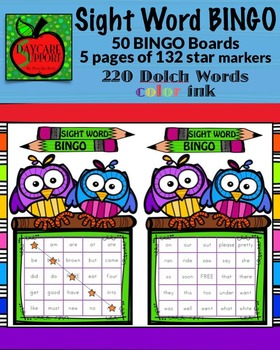 220 Dolch Sight Word BINGO color ink (Daycare Support by P