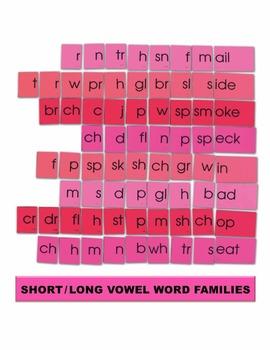 Short/Long Vowel Word Families Manipulatives
