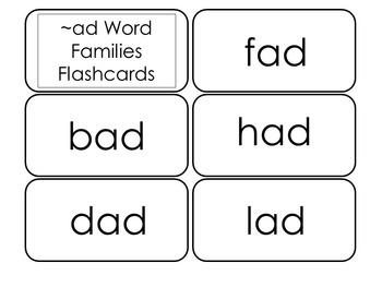 250 Word Family Flashcard Set.