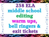 258  middle school ELA warm ups, bell ringers and exit tickets